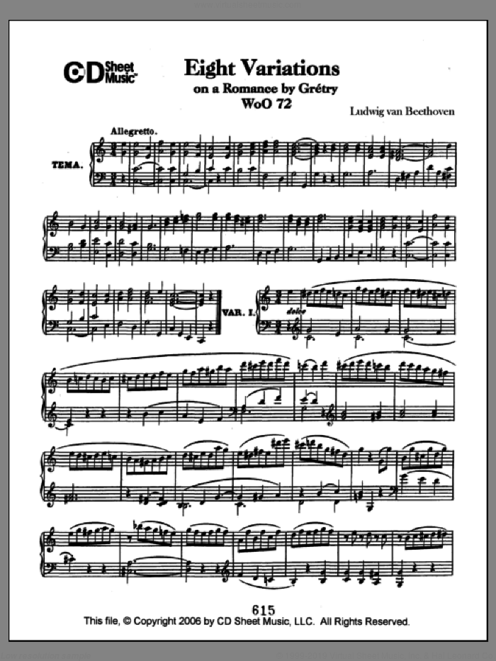 Variations (8) On A Romance By Gretry, Woo 72 sheet music for piano solo by Ludwig van Beethoven. Score Image Preview.