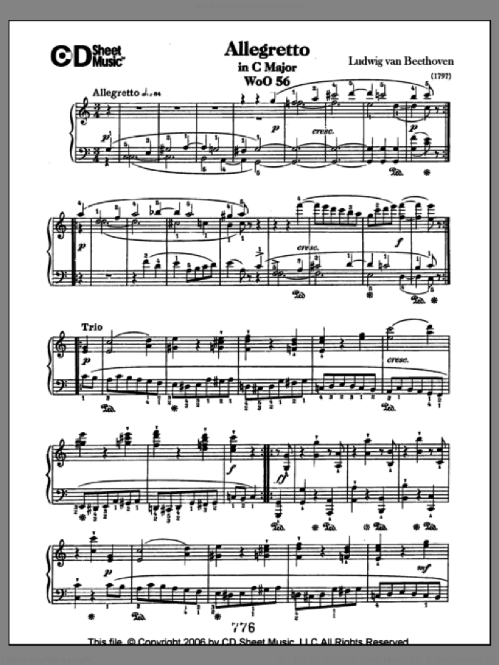 Allegretto In C Major, Woo 56 sheet music for piano solo by Ludwig van Beethoven. Score Image Preview.