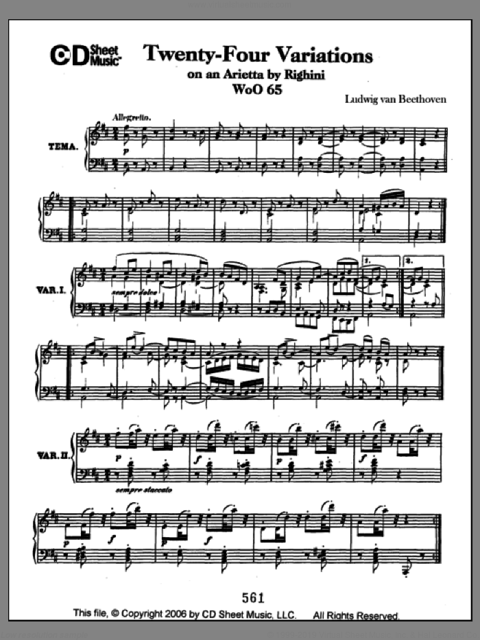 Variations (24) On An Arietta By Righini, Woo 65 sheet music for piano solo by Ludwig van Beethoven. Score Image Preview.