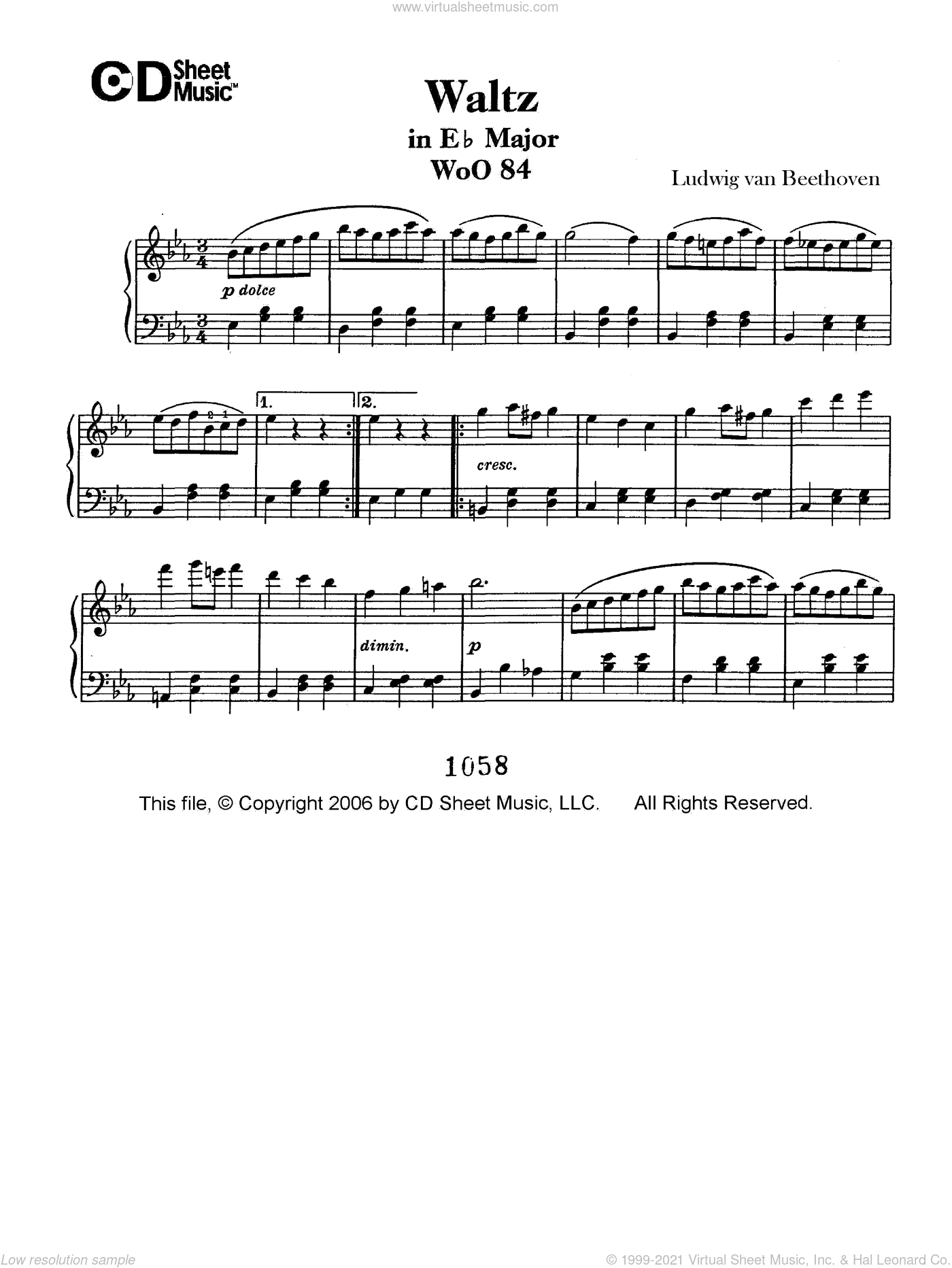 Waltz In E-flat Major, Woo 84 sheet music for piano solo by Ludwig van Beethoven, classical score, intermediate
