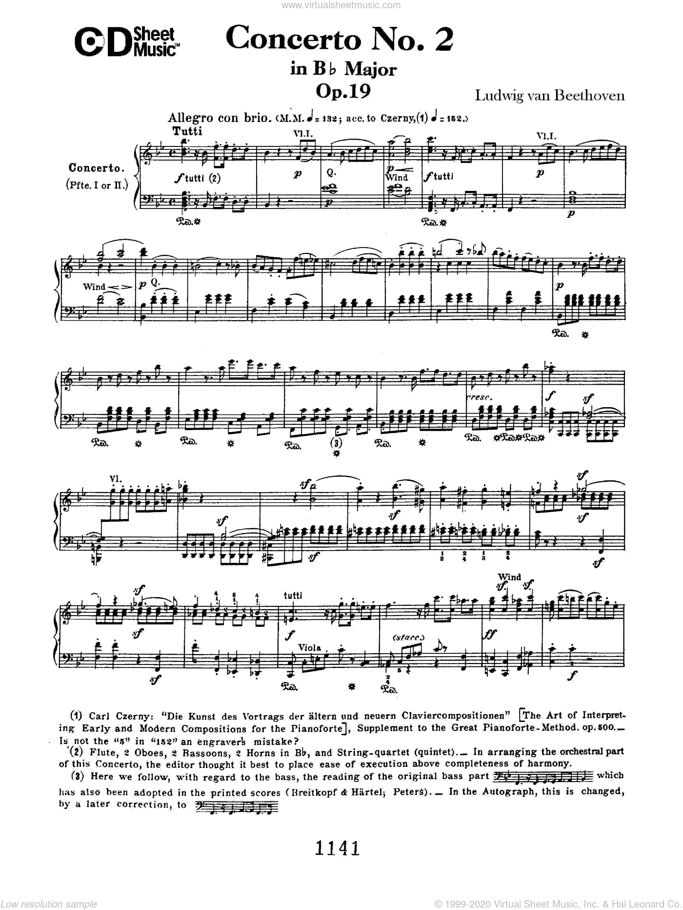 Concerto No. 2 In B-flat Major, Op. 19 sheet music for piano solo by Ludwig van Beethoven