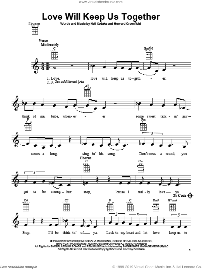 Love Will Keep Us Together sheet music for ukulele by The Captain & Tennille. Score Image Preview.