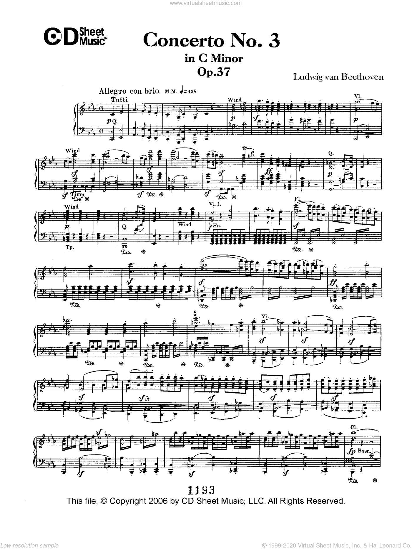 Concerto No. 3 in C Minor, Op. 37 sheet music for piano solo by Ludwig van Beethoven. Score Image Preview.