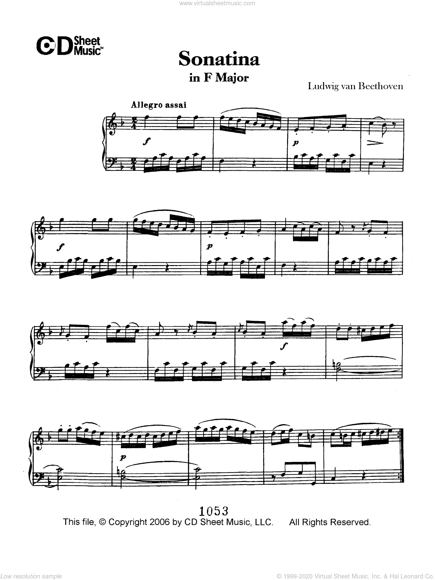 Sonatina In F Major sheet music for piano solo by Ludwig van Beethoven, classical score, intermediate. Score Image Preview.