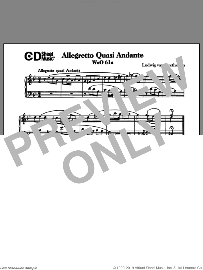Allegretto Quasi Andante In G Minor, Woo 61a sheet music for piano solo by Ludwig van Beethoven. Score Image Preview.