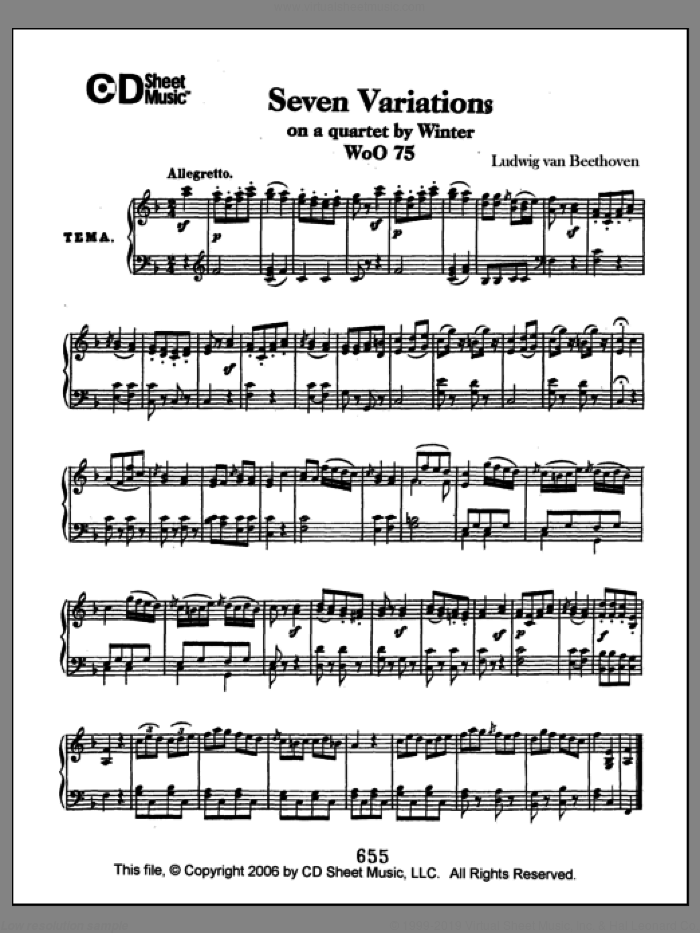 Variations (7) On A Quartet By Winter, Woo 75 sheet music for piano solo by Ludwig van Beethoven. Score Image Preview.