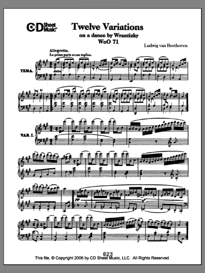 Variations (12) On A Dance By Wrantizky, Woo 71 sheet music for piano solo by Ludwig van Beethoven, classical score, intermediate piano. Score Image Preview.