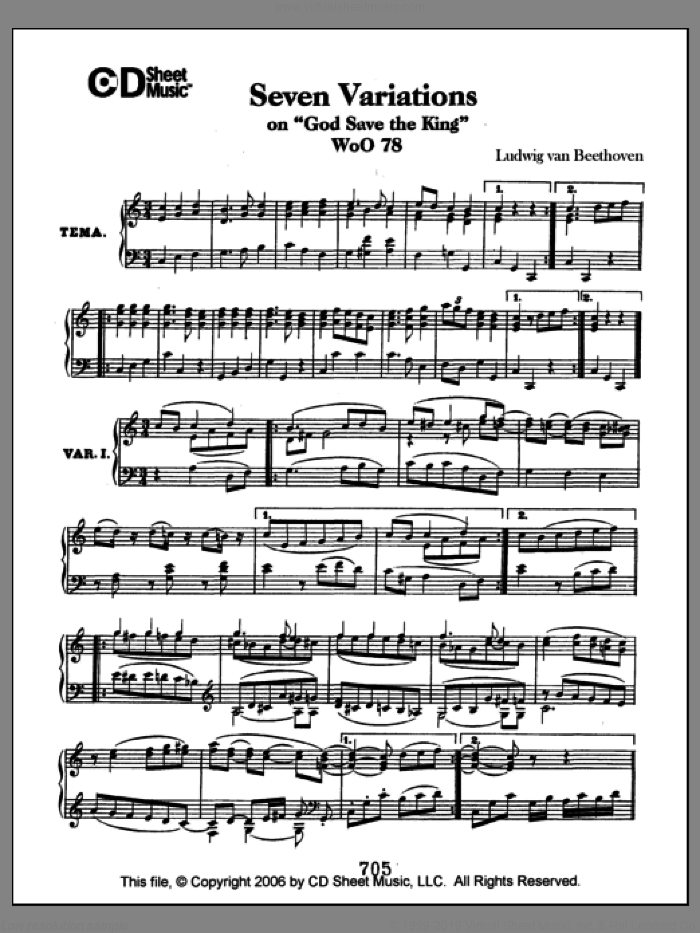 Variations (7) on 'God Save the King', WoO 78 sheet music for piano solo by Ludwig van Beethoven, classical score, intermediate skill level