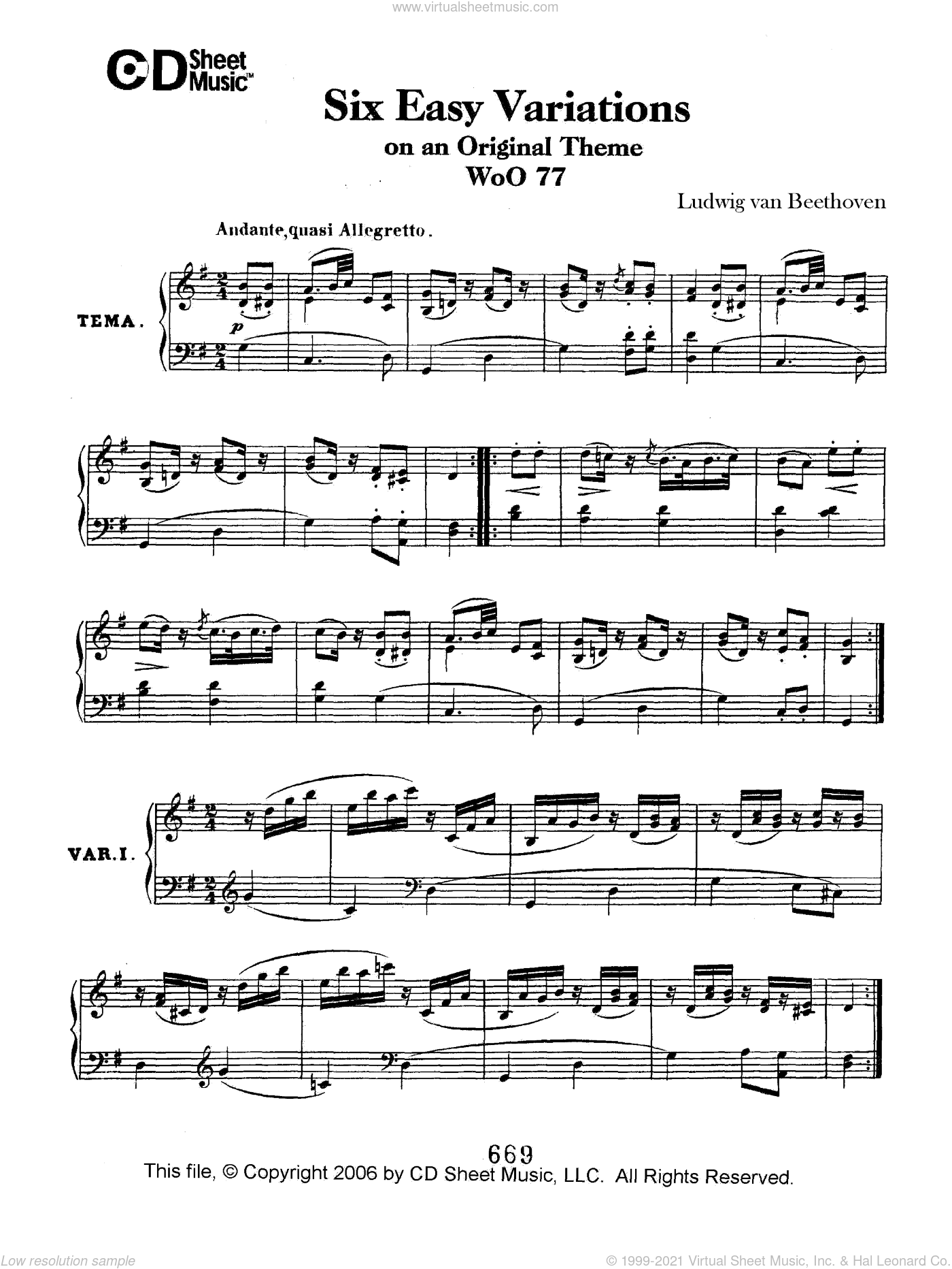 Easy (6) Variations On An Original Theme, Woo 77 sheet music for piano solo by Ludwig van Beethoven