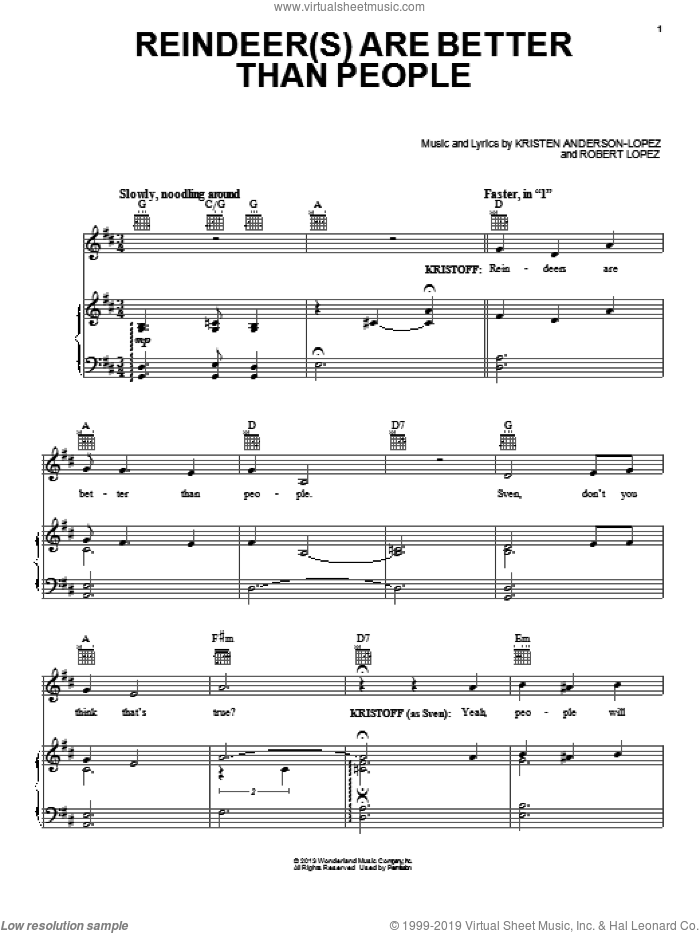 Reindeer(s) Are Better Than People sheet music for voice, piano or guitar by Robert Lopez and Kristen Anderson-Lopez, intermediate voice, piano or guitar. Score Image Preview.