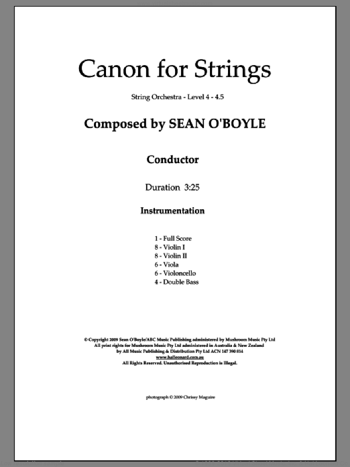 Canon for Strings sheet music for orchestra (score) by Sean O'Boyle