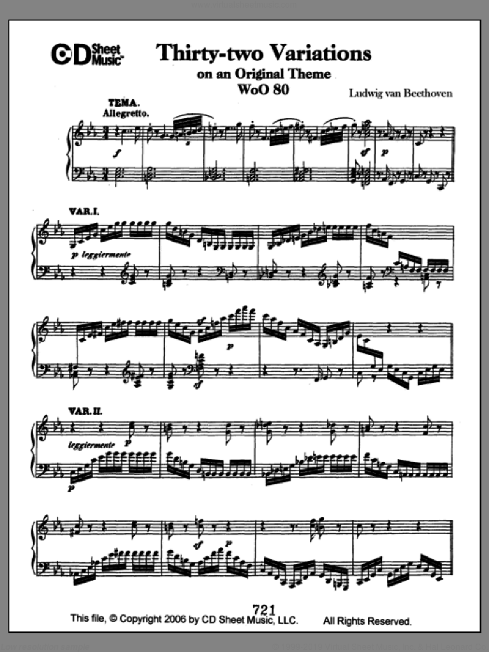 Variations (32) On An Original Theme, Woo 80 sheet music for piano solo by Ludwig van Beethoven, classical score, intermediate piano. Score Image Preview.