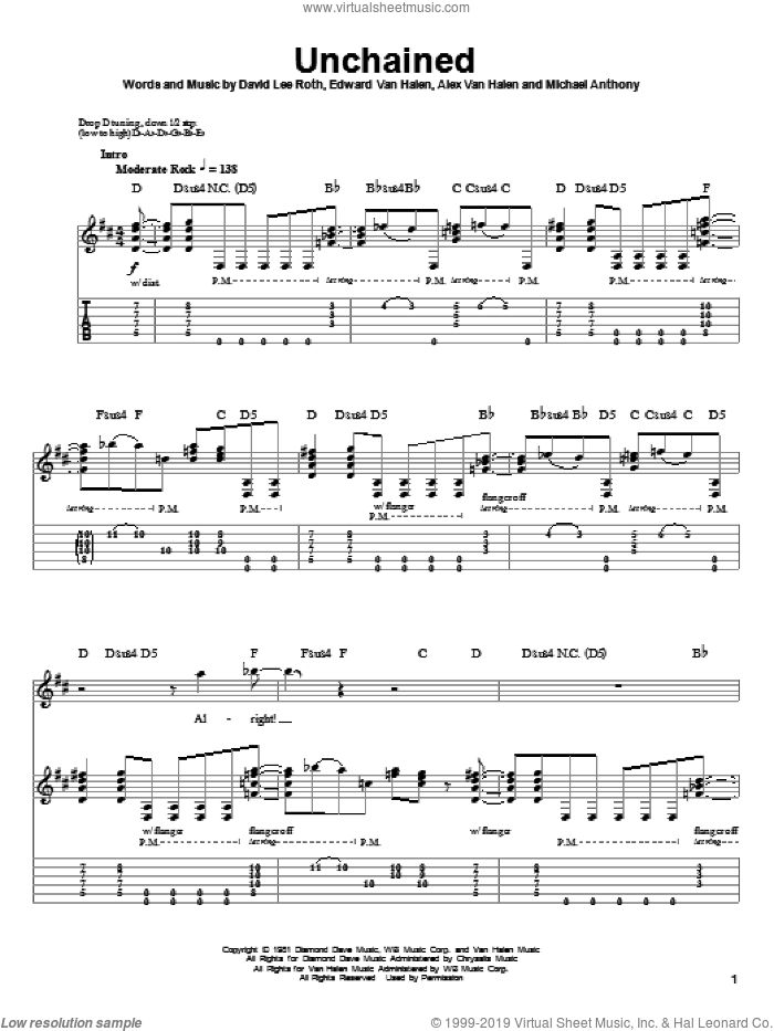Unchained sheet music for guitar (tablature, play-along) by Edward Van Halen, Alex Van Halen, David Lee Roth and Michael Anthony, intermediate skill level