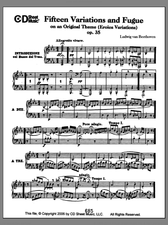 Variations (15) And Fugue On An Original Theme (eroica Variations) sheet music for piano solo by Ludwig van Beethoven. Score Image Preview.