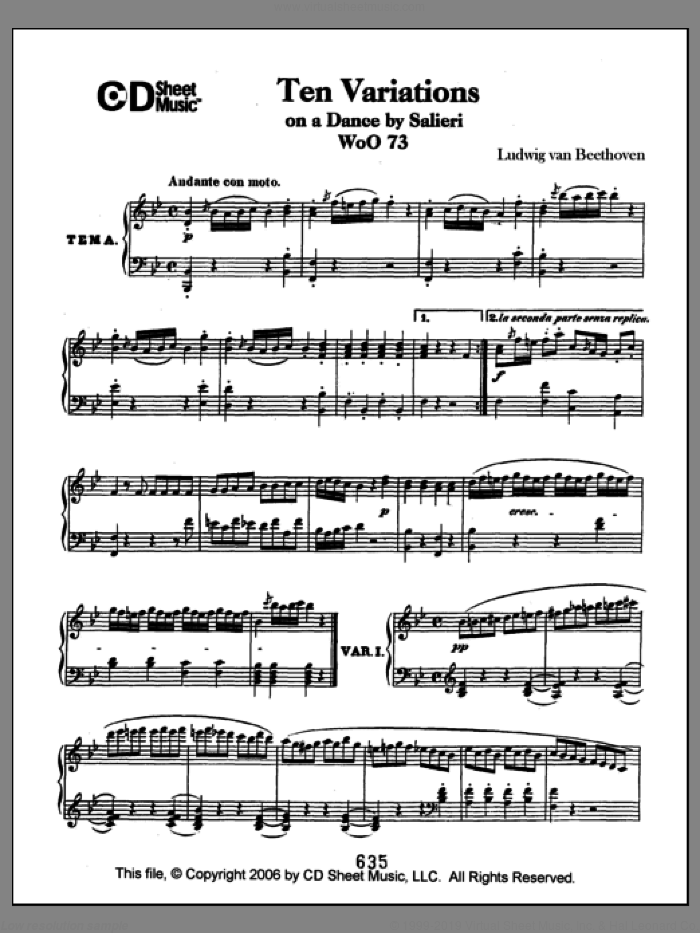 Variations (10) On A Duet By Salieri, Woo 73 sheet music for piano solo by Ludwig van Beethoven, classical score, intermediate