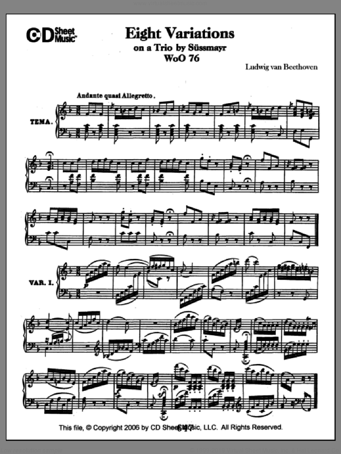 Variations (8) On A Trio By Sussmayr, Woo 76 sheet music for piano solo by Ludwig van Beethoven. Score Image Preview.