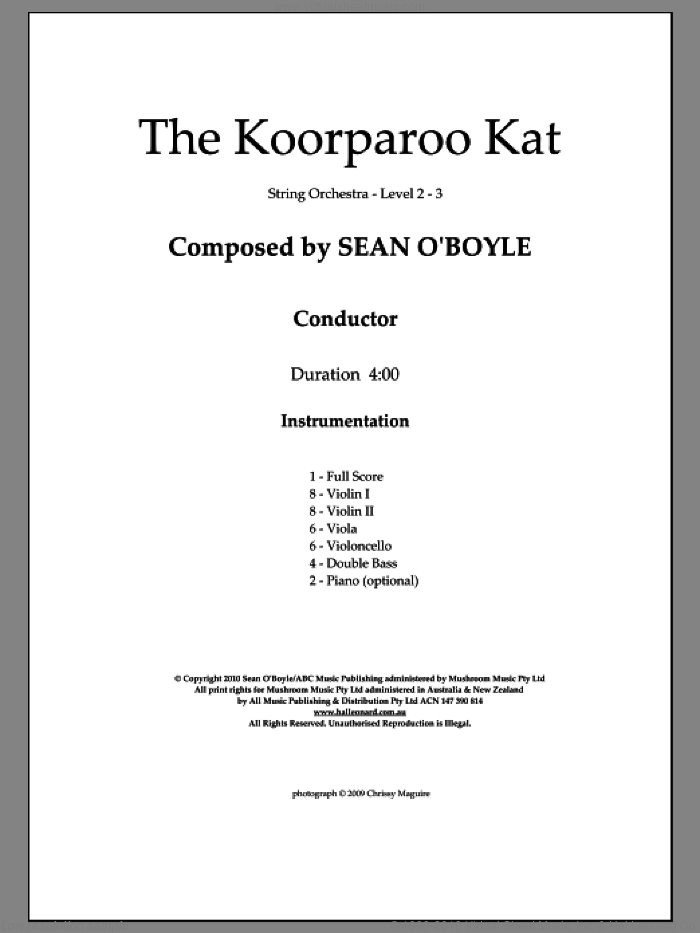 The Koorparoo Kat sheet music for orchestra (score) by Sean O'Boyle