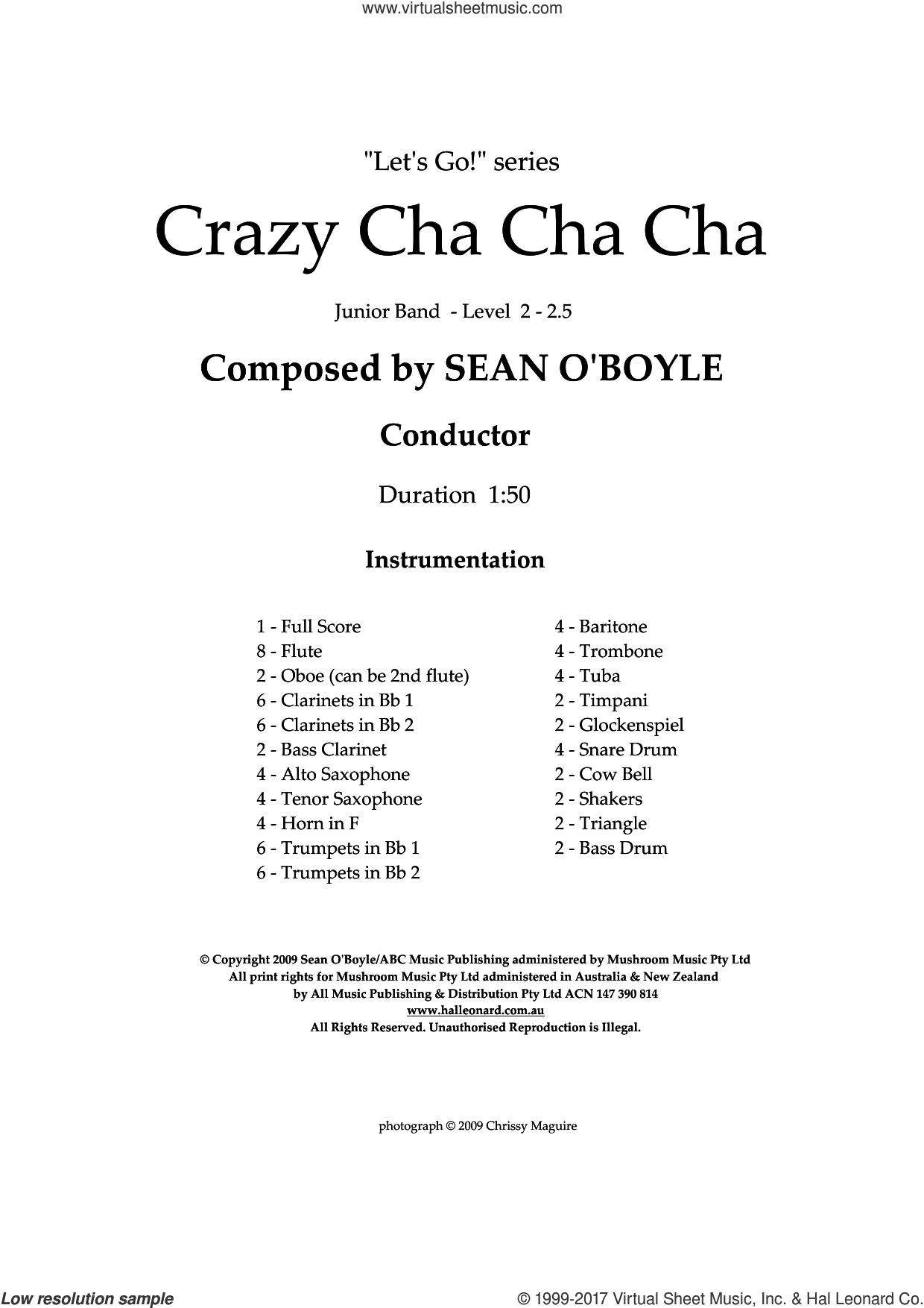 Crazy Cha Cha Cha (COMPLETE) sheet music for concert band by Sean O'Boyle, intermediate. Score Image Preview.