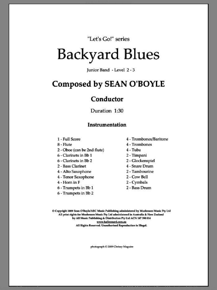 Backyard Blues (COMPLETE) sheet music for concert band by Sean O'Boyle, intermediate skill level