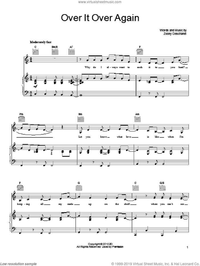 Over It Over Again sheet music for voice, piano or guitar by She & Him and Zooey Deschanel, intermediate skill level