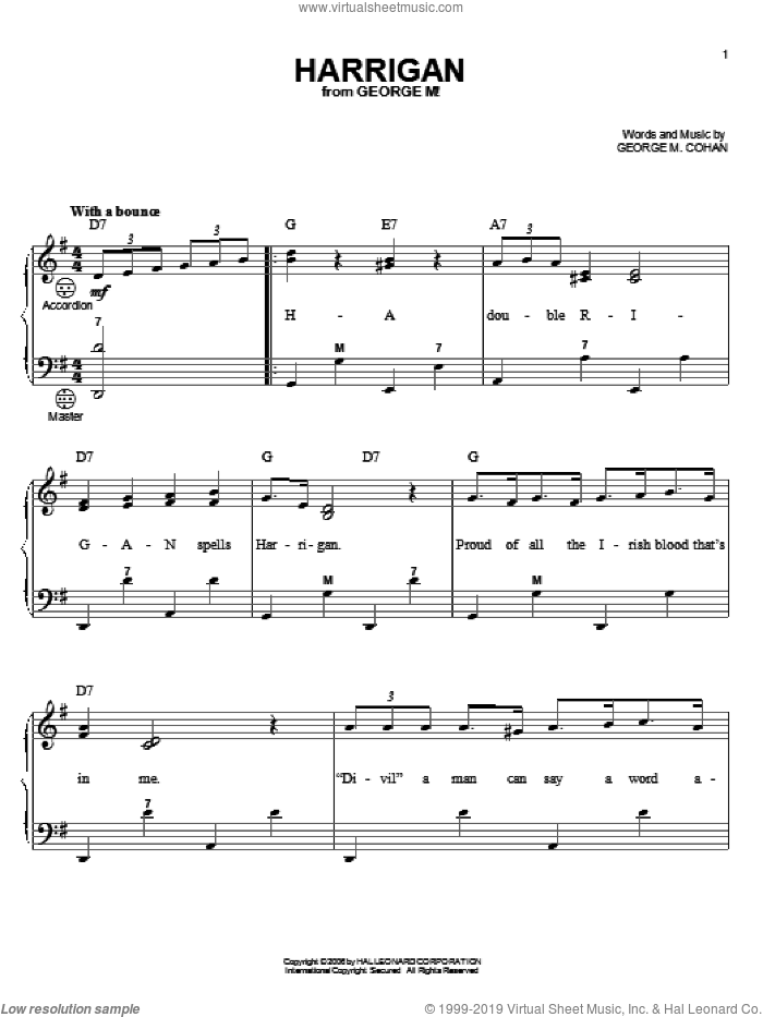 Harrigan sheet music for accordion by George M. Cohan, Gary Meisner and George Cohan, intermediate skill level