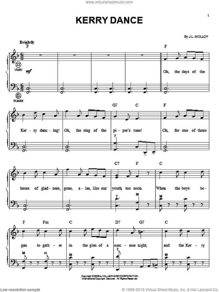 Kerry Dance sheet music for accordion by James Molloy and Gary Meisner, intermediate skill level