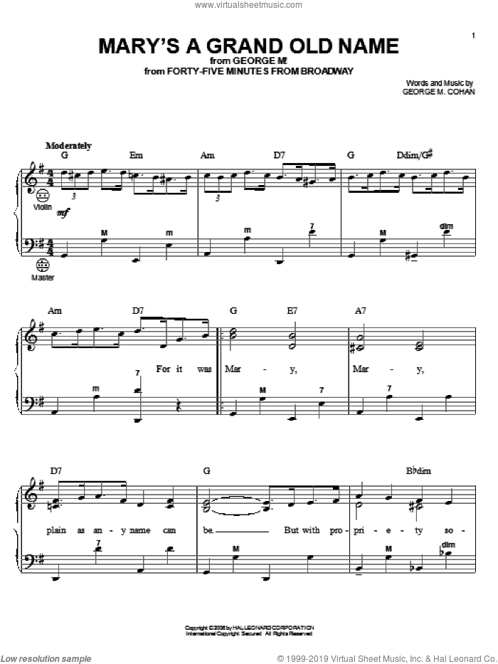 Mary's A Grand Old Name sheet music for accordion by George M. Cohan, Gary Meisner and George Cohan, intermediate skill level