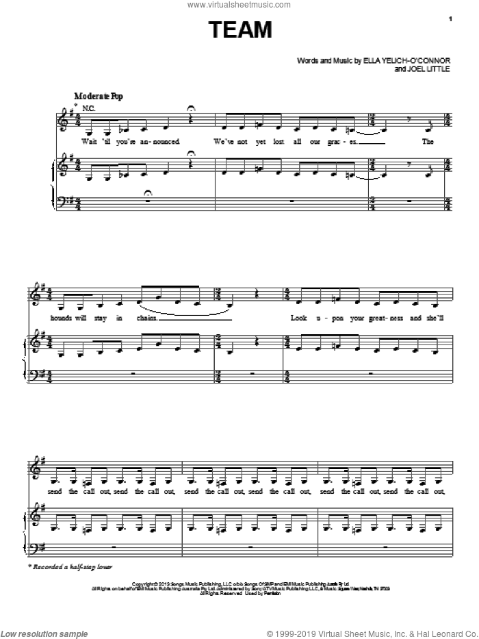 Team sheet music for voice, piano or guitar by Lorde, intermediate skill level