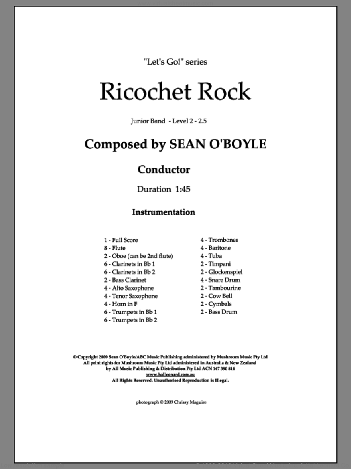 Ricochet Rock (COMPLETE) sheet music for concert band by Sean O'Boyle, intermediate skill level