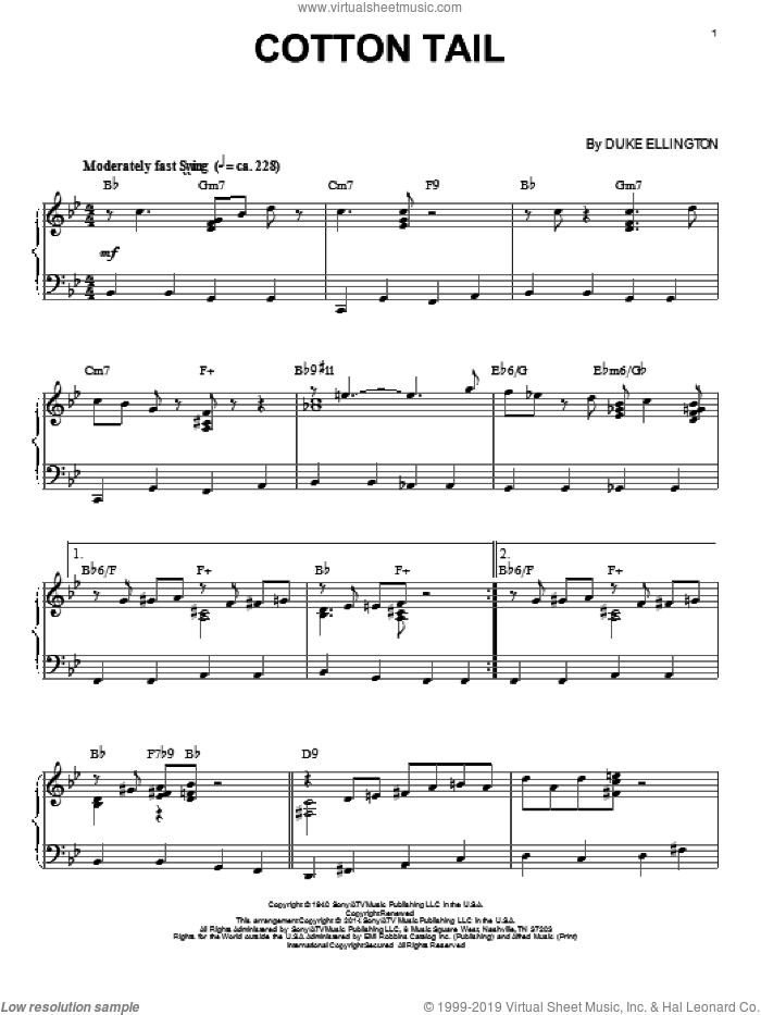 Cotton Tail sheet music for piano solo by Duke Ellington. Score Image Preview.