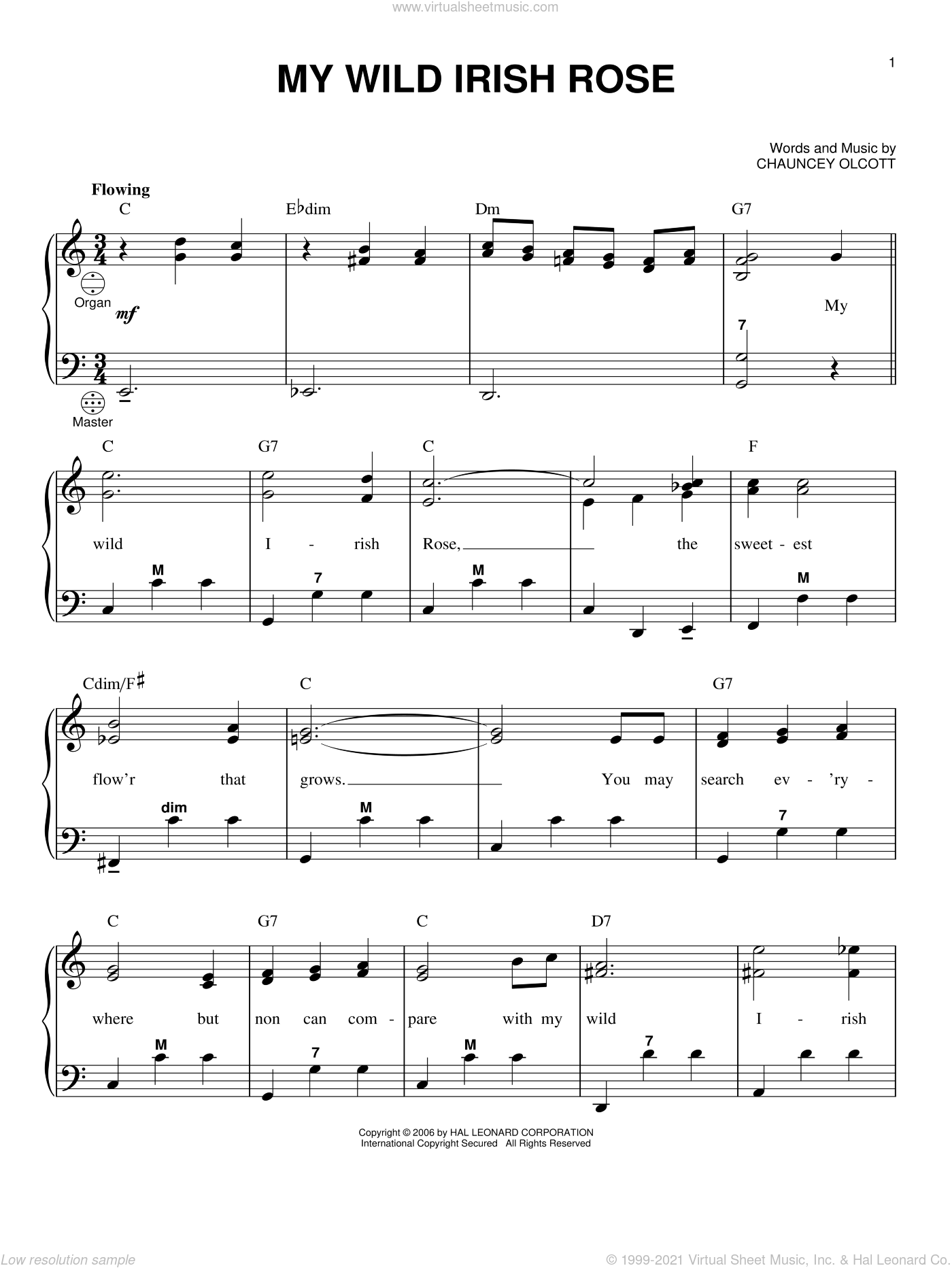 My Wild Irish Rose sheet music for accordion by Chauncey Olcott and Gary Meisner, intermediate. Score Image Preview.