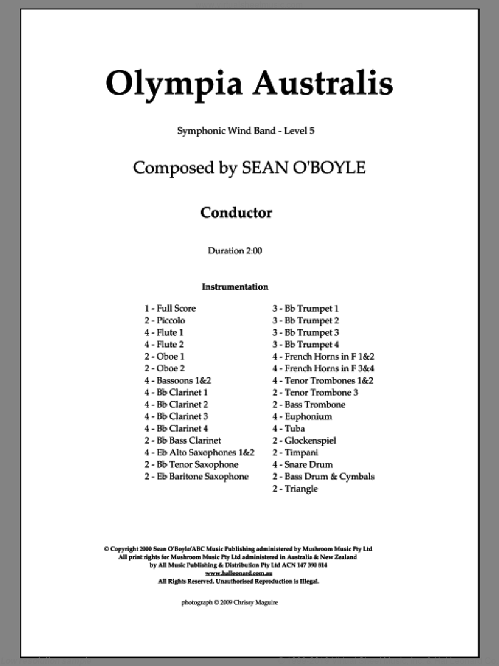 Olympia Australis (Symphonic Wind Band) sheet music for concert band (score) by Sean O'Boyle