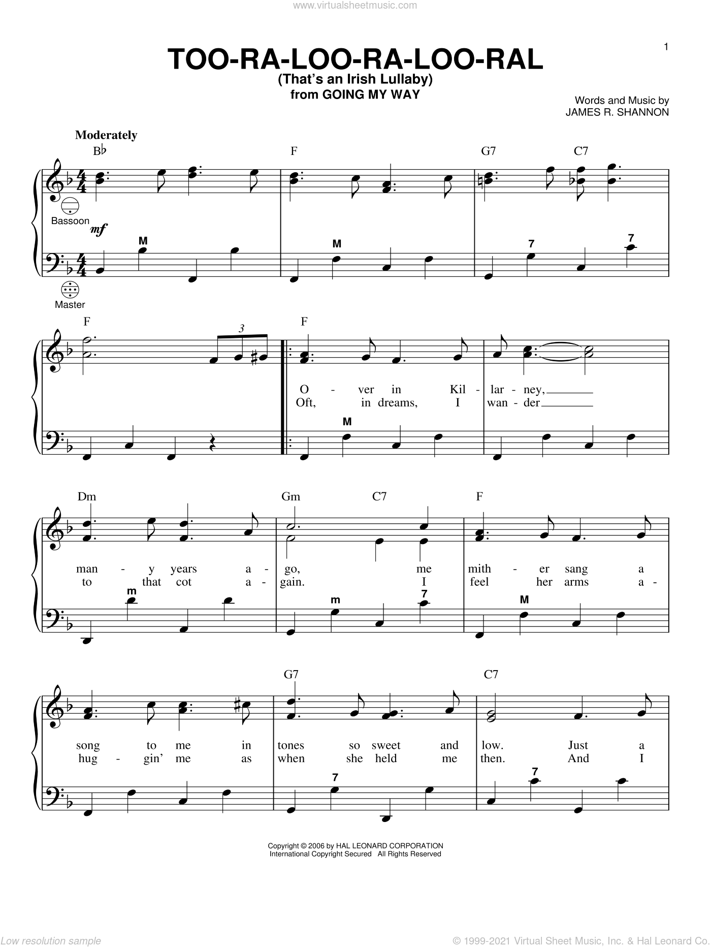 Too-Ra-Loo-Ra-Loo-Ral (That's An Irish Lullaby) sheet music for accordion by James R. Shannon and Gary Meisner, intermediate. Score Image Preview.