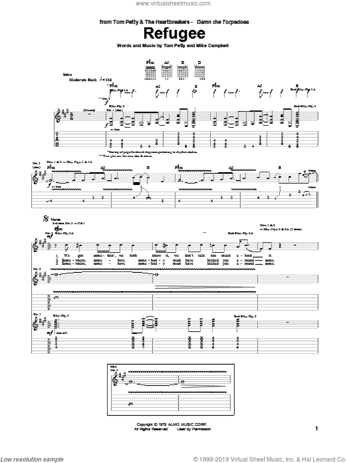 Refugee sheet music for guitar (tablature) by Mike Campbell