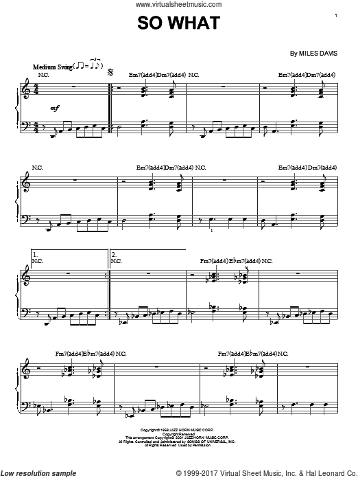 So What sheet music for piano solo by Miles Davis, intermediate. Score Image Preview.