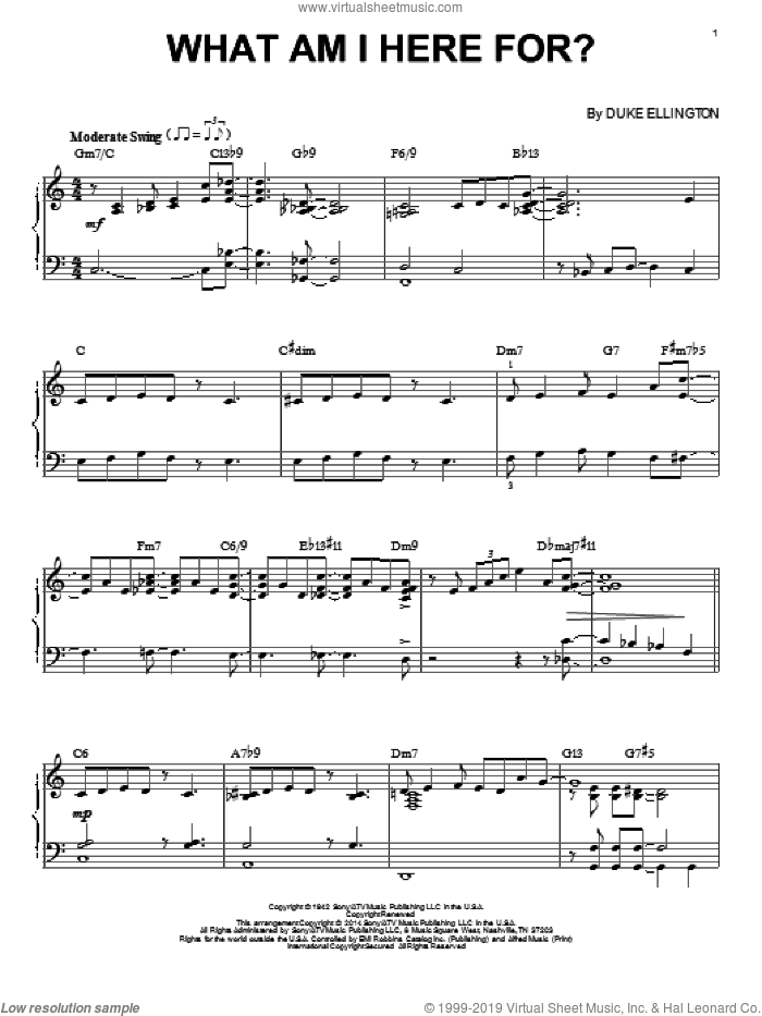 What Am I Here For? sheet music for piano solo by Duke Ellington. Score Image Preview.