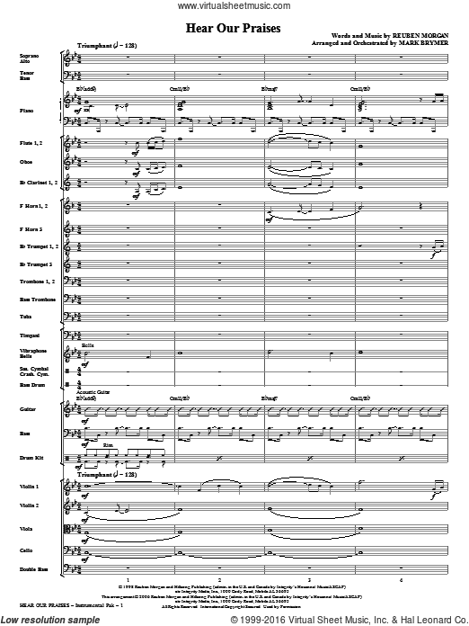 Hear Our Praises (COMPLETE) sheet music for orchestra by Reuben Morgan and Mark Brymer, intermediate. Score Image Preview.