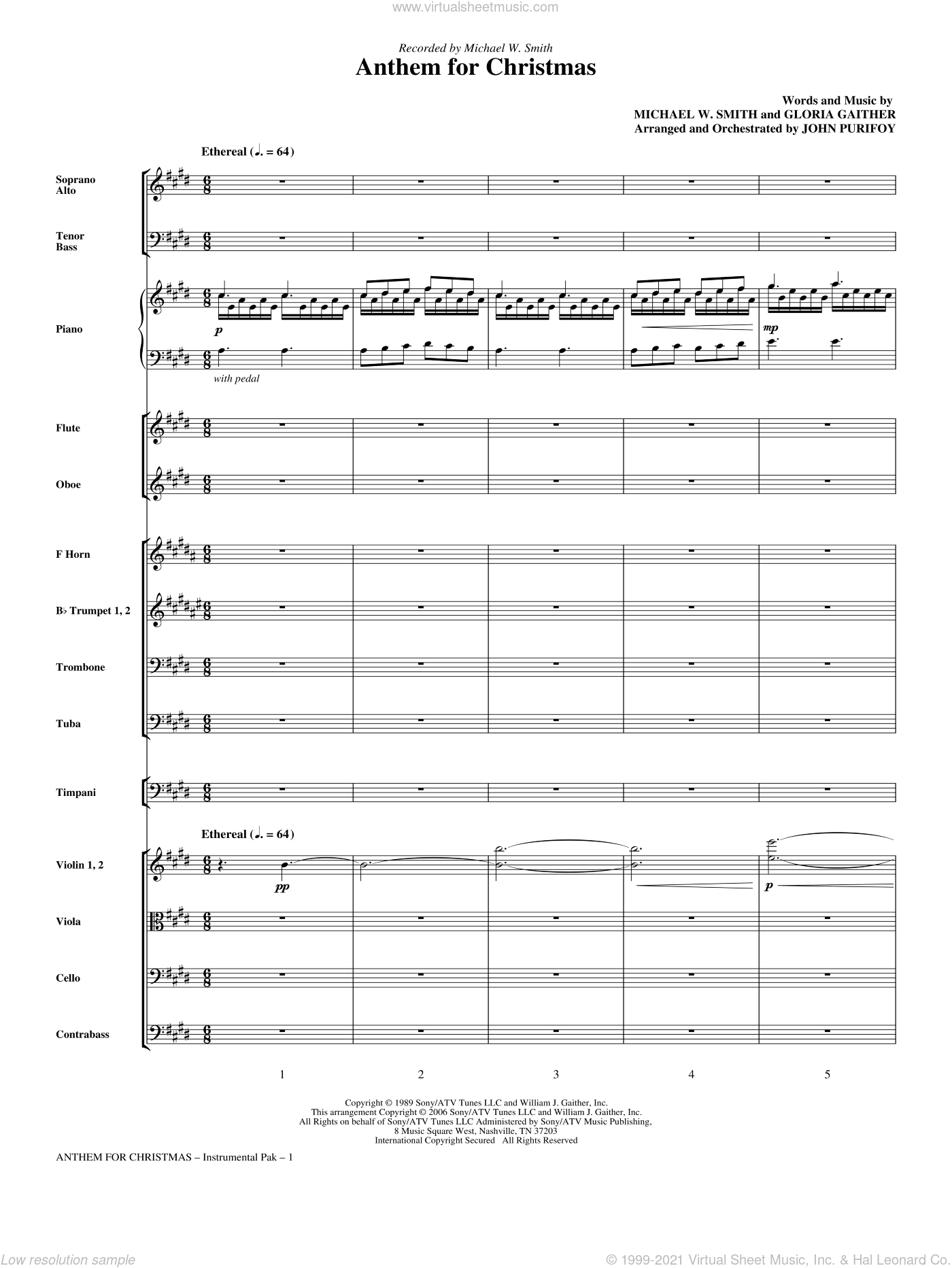 Anthem for Christmas sheet music for orchestra/band (full score) by Michael W. Smith, Gloria Gaither and John Purifoy, intermediate skill level