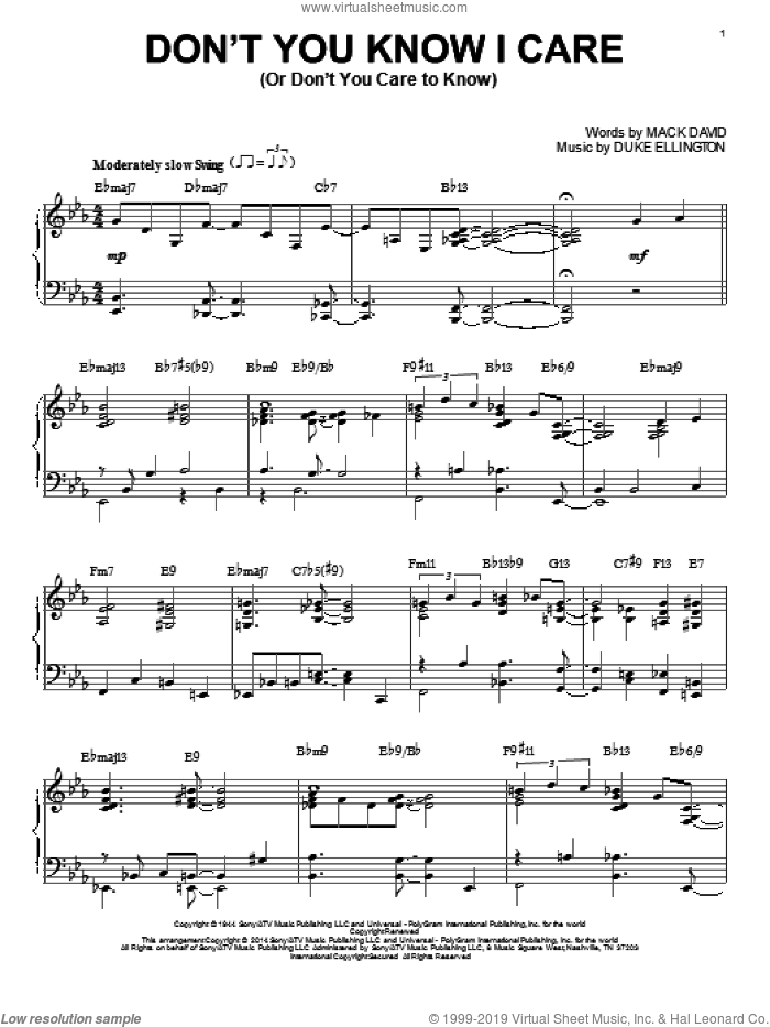 Don't You Know I Care (Or Don't You Care To Know) sheet music for piano solo by Duke Ellington. Score Image Preview.