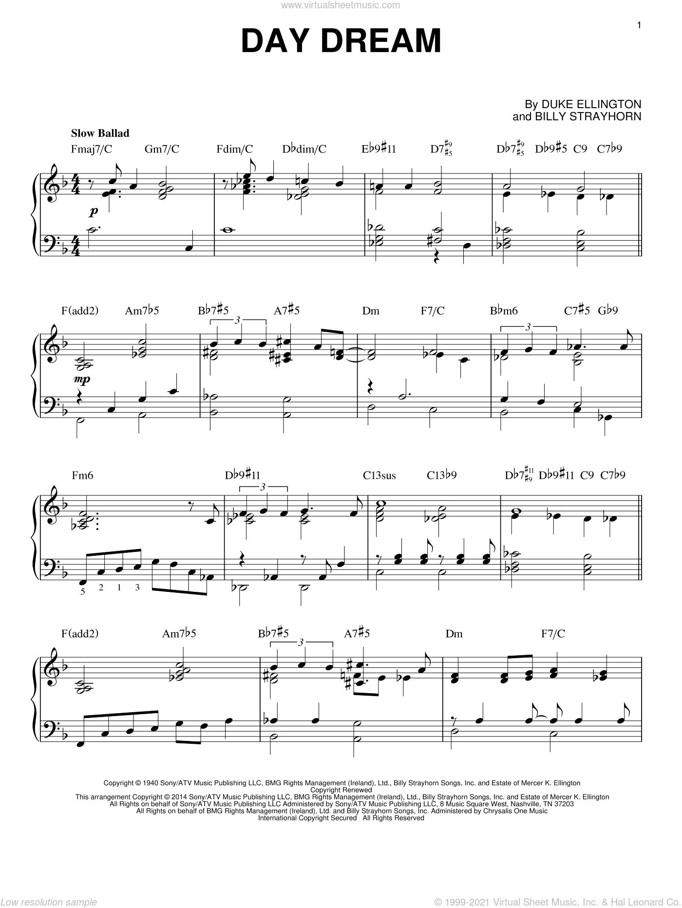 Day Dream sheet music for piano solo by Billy Strayhorn, intermediate piano. Score Image Preview.