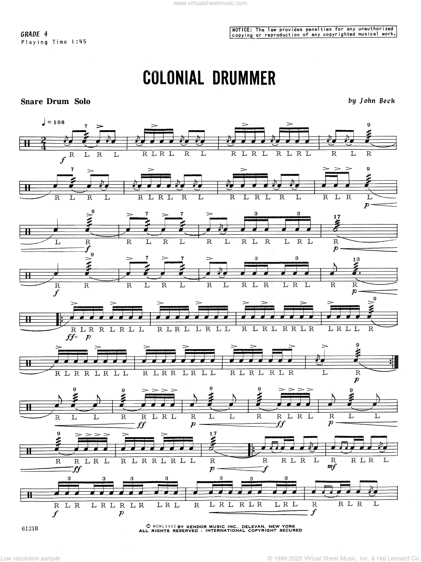 Colonial Drummer sheet music for percussions by John H. Beck. Score Image Preview.