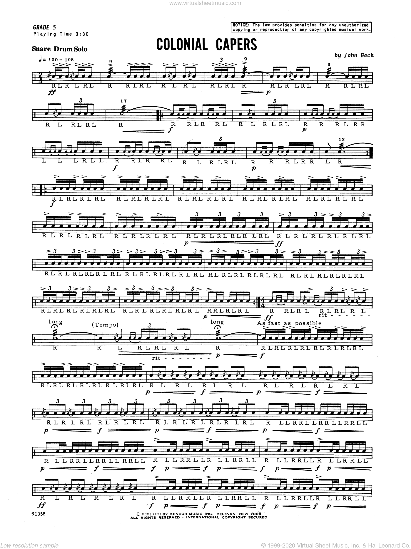 Colonial Capers sheet music for percussions by John H. Beck, classical score, intermediate skill level