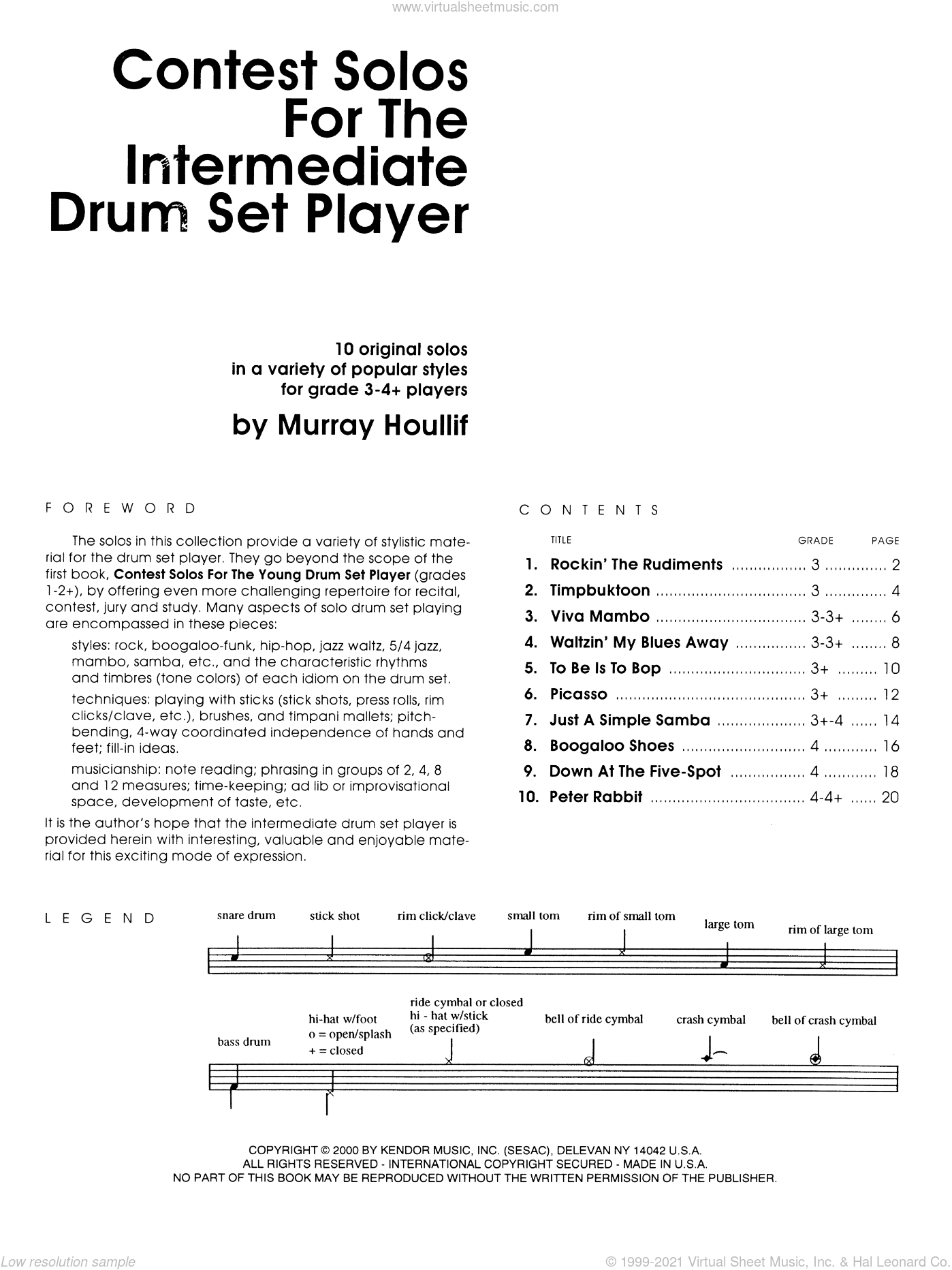 Contest Solos For The Intermediate Drum Set Player sheet music for percussions by Houllif, classical score, intermediate percussions. Score Image Preview.