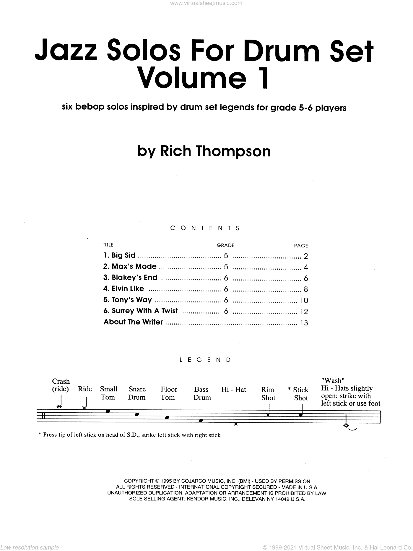 Jazz Solos For Drum Set, Volume 1 sheet music for percussions by Thompson. Score Image Preview.