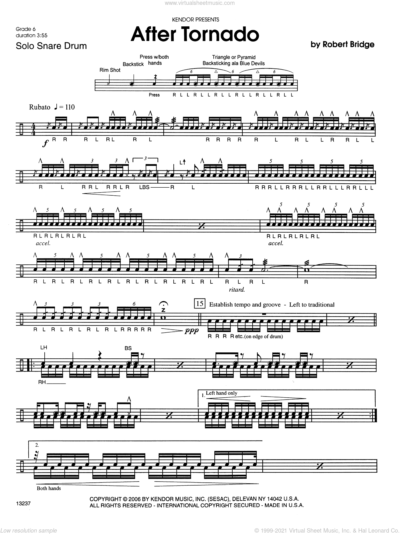 After Tornado sheet music for percussions by Robert Bridge. Score Image Preview.
