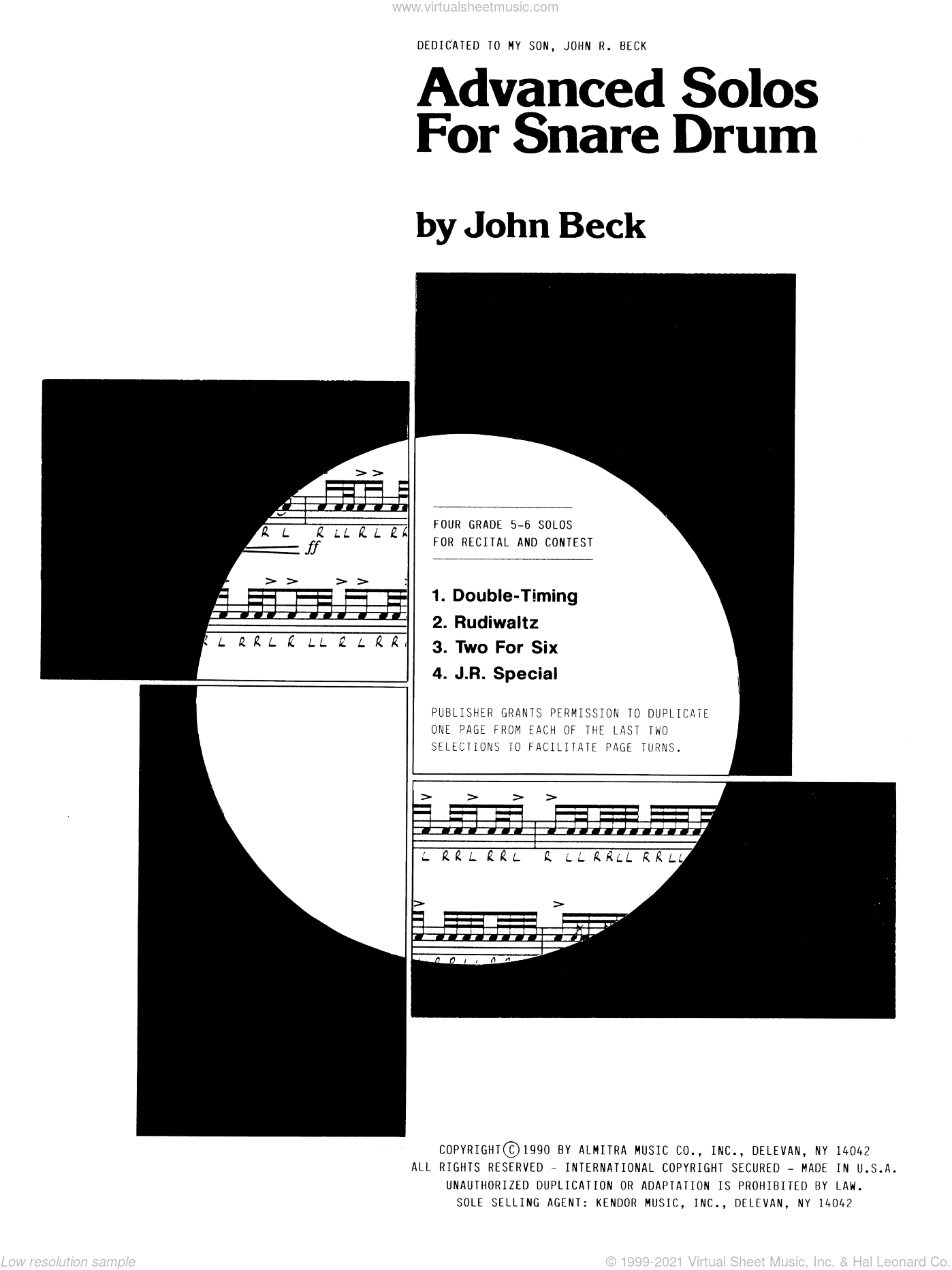 Advanced Solos For Snare Drum sheet music for percussions by John H. Beck, classical score, intermediate skill level