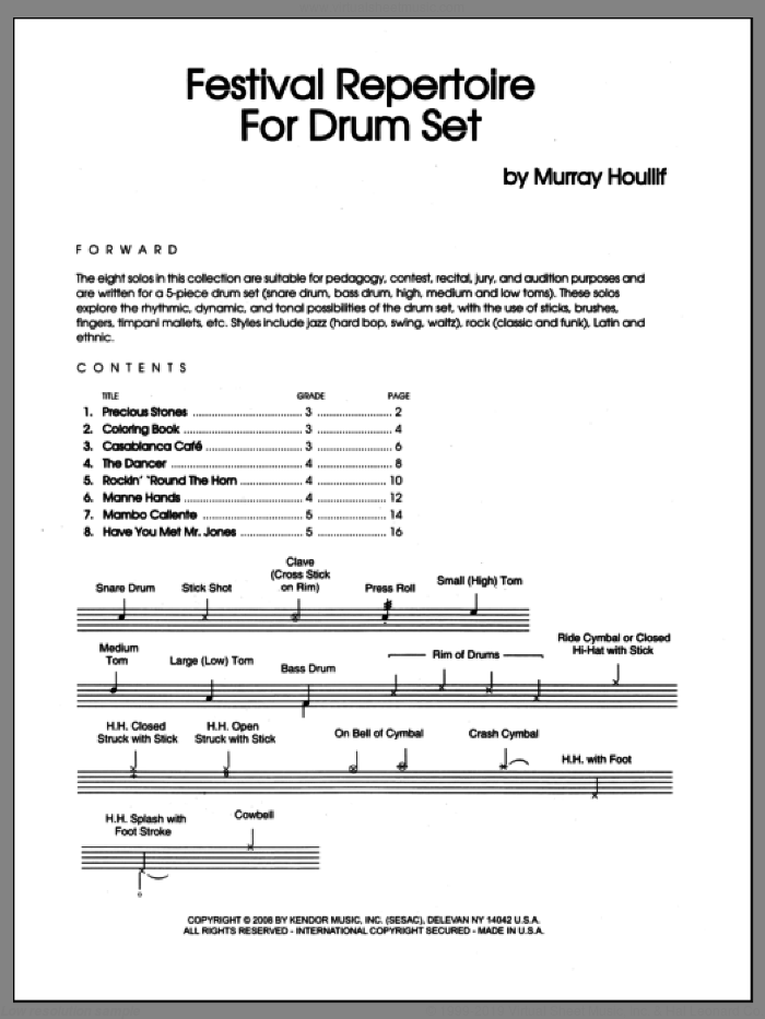 Festival Repertoire For Drum Set sheet music for percussions by Houllif. Score Image Preview.