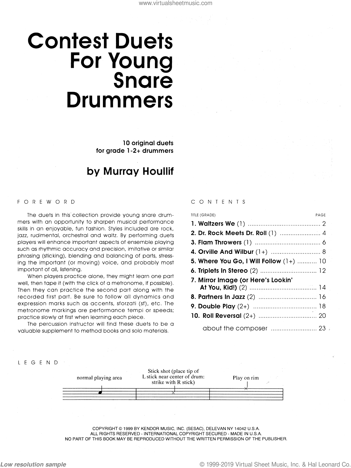 Contest Duets For Young Snare Drummers sheet music for percussions by Houllif. Score Image Preview.