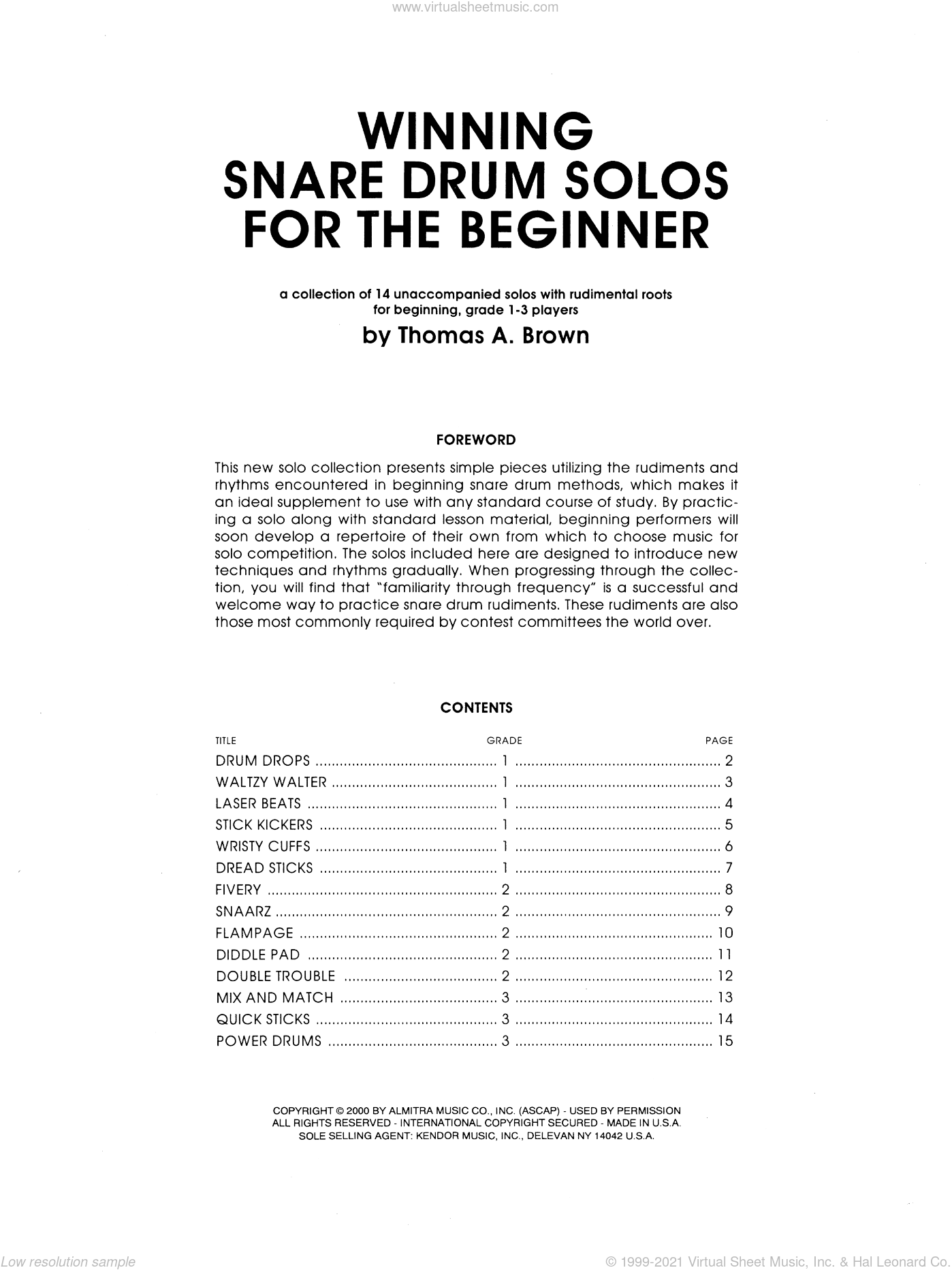 Winning Snare Drum Solos For The Beginner sheet music for percussions by Tom Brown, classical score, intermediate. Score Image Preview.