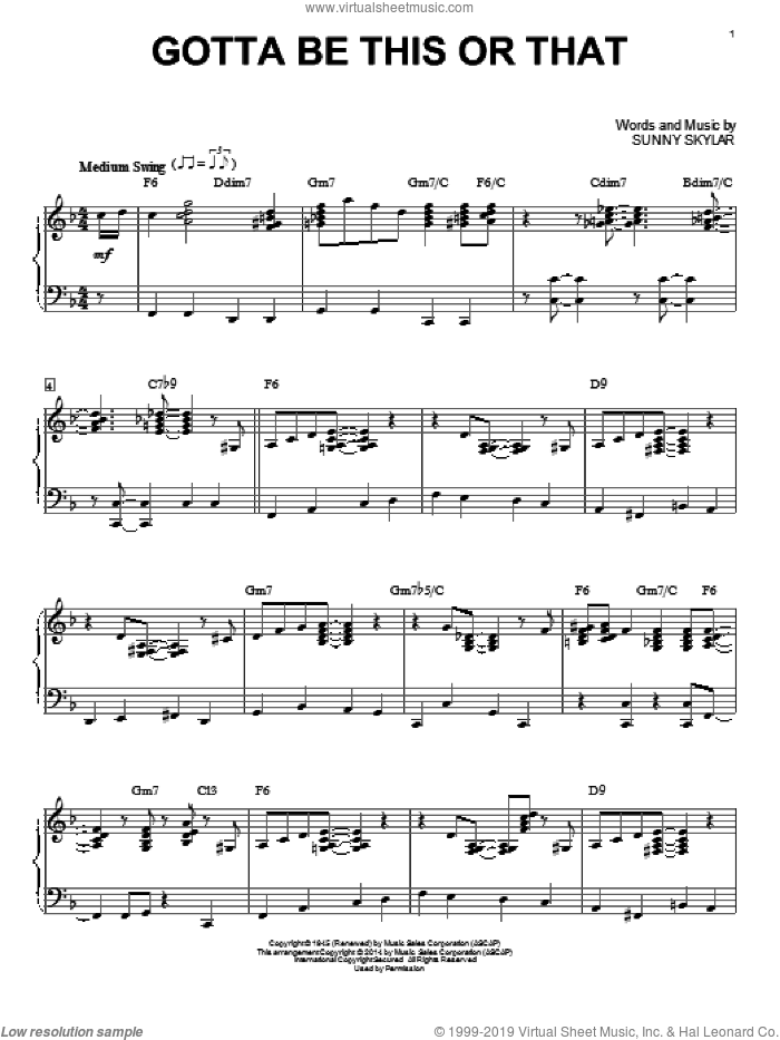 Gotta Be This Or That sheet music for piano solo by Benny Goodman and His Orchestra and Sunny Skylar, intermediate skill level
